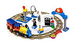 Motorized Train Set And Tracks Building Blocks 50pcs Battery Operated Compatible With Lego Duplo Train Set Parts