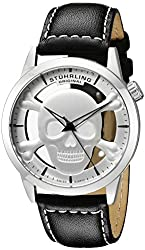 Stuhrling Original Men's 994.01 Aviator Swiss Quartz Silver-Tone Watch with Black Band