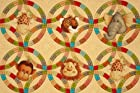 Jungle Babies Panel Animal Circles Tan Fabric