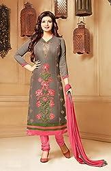 V-Kart Women's Cotton Unstitched Dress Material (Vkart_324_Red_Free Size)