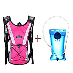 Hydration Pack Keepfit Hydration Pack Hydration Pack with 2 L Backpack Water Bladder for Hiking Running Biking Hot Pink