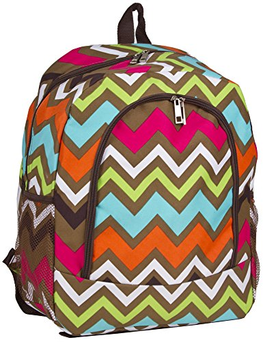 N. Gil Brown Multicolor Chevron Backpack School Bags