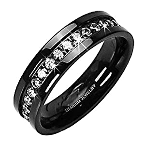 Solid Titanium Black Plated Round Shape Cubic Zirconia Unisex Band Eternity Wedding Ring SPJ