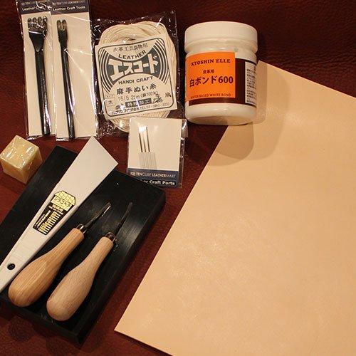 レザークラフトスターターキット手縫い10点セット【日本製】+タンロー1.0mm厚A4サイズ1枚【TVで紹介された匠の技、1本1本磨きと焼きが入った菱目打ちもセレクト】プロも使用している拘りの工具