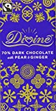 Divine FT 70 Percent Dark Chocolate with Pear and Ginger (Pack of 3)