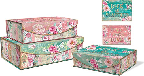 Punch Studio Lovely Letters Set of 3 Nesting Flip Top Boxes with Magnetic Closure