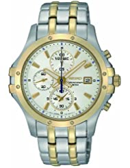 Seiko Men's SNDC98 Two Tone Stainless Steel Analog with White Dial Watch