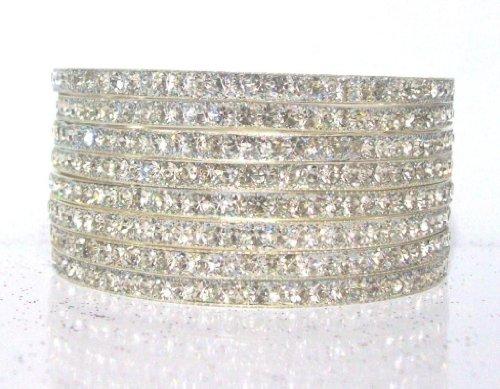 Size:~2.8 Brass Metal Base Silver Look CZ Fashion