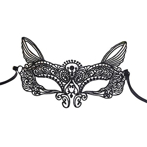 [EKIMI Mask Halloween Masquerade Sexy Lady Black White Lace Mask hollow out Catwoman (C)] (Red Dancing Girl Emoji Costume)