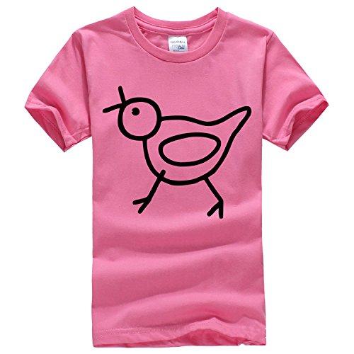 Line sketch bird solid color short sleeve T Shirt Medium azalea