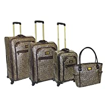Hot Sale Adrienne Vittadini Metallic Leopard 4-Piece Luggage Set - Leopard