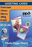 A5 Inkjet (Jet d'encre) Carte de remerciement Papier Glacé Super 260g X 50 Cartes