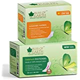 Bliss Of Earth™ 180MM DailyFresh Liners (30) & 240MM (10) CottonFresh Day Use Sanitary Napkins Combo (Pack Of 2)