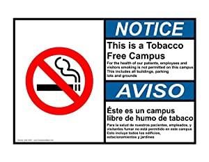 ANSI NOTICE Tobacco Free Campus Bilingual Sign ANB-15251 No Smoking