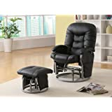 Coaster Deluxe Swivel Glider and Ottoman in Black Leatherette