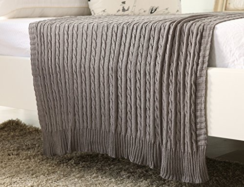 iSunShine Cotton Knitted Cable Throw Soft Warm Cover Blanket Cable Knitting Pattern, 70*78 Inches, Deep Grey