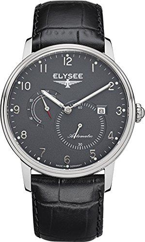Elysee Priamos reloj para hombre de negro con correa de cuero Negro