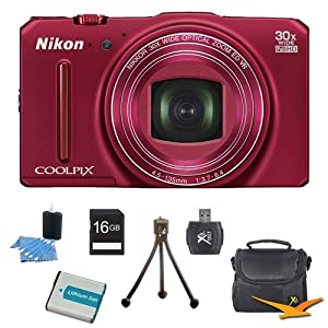 COOLPIX S9700 16MP HD 1080p 30x Opt Zoom Digital Camera Red Kit Includes camera, memory card, bag, battery charger, batteries, card reader, cleaning kit and mini tripod