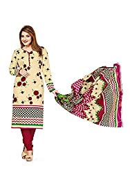 PShopee Cream & Brown Printed Cotton Unstitched Salwar Suit Dress Material