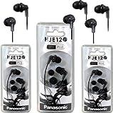 Panasonic RP-HJE120 ErgoFit In-Ear Headphones Stereo Earbuds (3-Pack, Black)