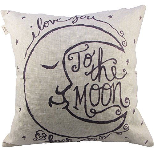 Generic I Love You to the Moon and Back Cotton Throw Pillow Case Vintage Cushion Cover, 18