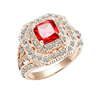 Wholesale Fashion Women Rose Gold Red Diamond Zircon-plated Ring from Lekani