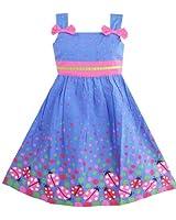 Sunny Fashion Robe Fille Bleu Punaise Rose Point