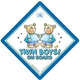 A los gemelos de mesa de texto en ingl�s, Gemelos de manga corta para ni�o de mesa de texto en ingl�s, de color azul osos de peluche de, a los Gemelos coche de la se�al de, de la se�al de tablero de beb� de texto en ingl�s, del beb� del tablero de te