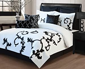 Amazon com 9 piece queen duchess black and white comforter set home