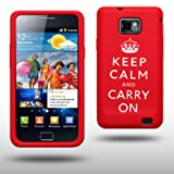 "SAMSUNG i9100 GALAXY S2 II ""KEEP CALM & CARRY ON"" SILIKON SKIN CASE SCHUTZH�LLE IN ROT/WEI�von ""CELLAPOD"""