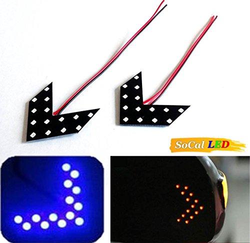 Socal-Led 2Pcs Blue Car Signal Bulbs 1210 14 Smd Led Panel, Ultra Slim Arrow Sign, Side Mirror Indicator Turn Signal Lamp