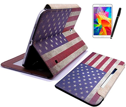 gada-Set 3in 1: Samsung Galaxy Tab 48.0T330-Elegante custodia finta Custodia in pelle con pratica funzione leggio, pellicola proteggi schermo e pennino Touch Bandiera USA/UK vintage Multicolore Amerika USA