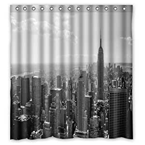 Fashion And Generic Skyline Black And White New York City Shower Curtain 66 W X
