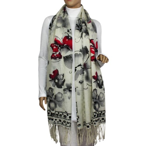 100% Pashmina/Cashmere Ink Painting Watercolor Flowers Tassel Ends Long Scarf Shawl