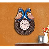 1.5 FT Tall Large Wall Clock, Decorative Peacock Wooden Handcrafted - Artistic Wall Decor Clocks Sculpture