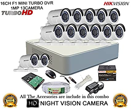 Hikvision-DS-7116HGHI-F1-Mini-16CH-Dvr,-13(DS-2CE16C2T-IR)-Bullet-Camera-(With-Mouse,-Remote,-2TB-HDD,-Bnc&Dc-Connectors,-Power-Supply,Cable-)