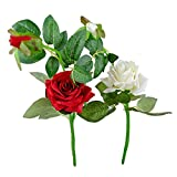 Thefancymart Artificial Rose Flower Plant Set Of 2 Sticks Style Code-87