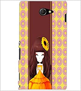 PrintDhaba Cute Girl D-4803 Back Case Cover for SONY XPERIA M2 (Multi-Coloured)