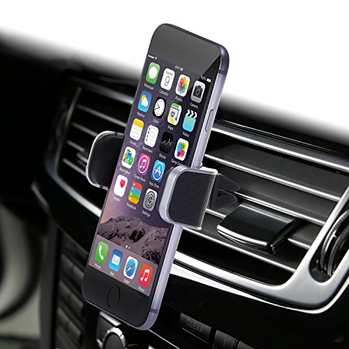 Dash Crab MONO - Genuine Leather Car Mount, Luxury Premium Air Vent Cell Phone Car Holder for iPhone 7 Plus 6 6s Plus Samsung Galaxy S7 S6 Edge Note 5, Universal Grip - Retail Pack (Black) (Air Conditioner Phone Holder compare prices)