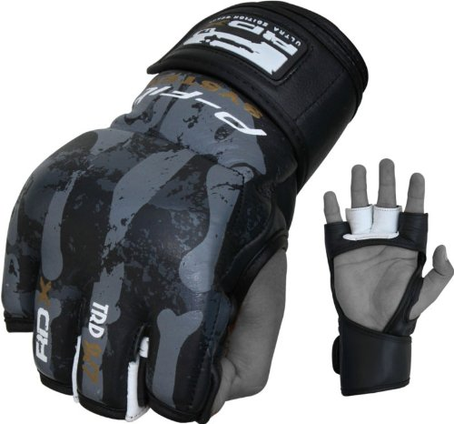 Auth RDX Cow Hide Leather Bone Grappling Gloves MMA,UFC,Boxing NHB, Large