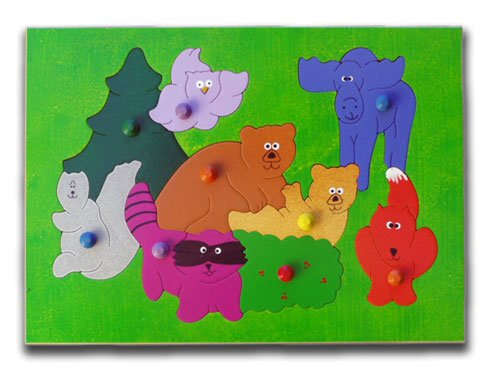 Picture of KidPuzzles Wooden Puzzle with Knobs Woodland Animals (B00564HM24) (Pegged Puzzles)