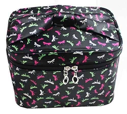 Portable Piazza Cosmetics Bag Caso Truccotessuto Borsa Da Toilette Raso Borsa Lavare Carino Stampa Con Maniglia Accessori Viaggio-nero-libellule