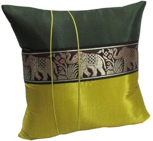 Ethnic Silk Blend Sofa Pillow Case Brocade Elephant Print Cushion Cover Throw 16
