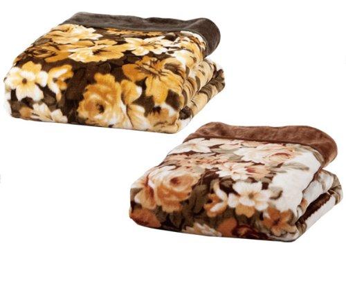 マリン商事 布団カバー兼用マイヤー毛布2枚セット(緑1枚、茶1枚) Be-20520