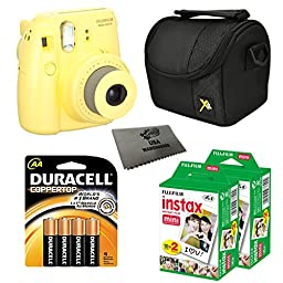 Fujifilm Instax Mini 8 Instant Film Camera 5-in-1 Set + 2 Packs Fuji Film Instant Film Twin Pack (Total 40 Sheets) + Compact Camera Case + Pack of AA Batteries + Lens Cleaner Cloth Bundle (Yellow)