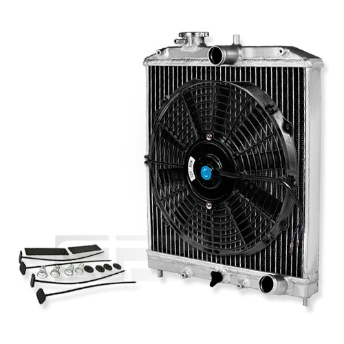 "Dpt, Ra-Hc92-42-2+Raf-12+Fmk, Full Aluminum Performance Two Dual Row Core Chrome Radiator With Black Electric Slim Fan With Mounting Kit Overall Size 18""X14.5""X2"" For Manual Transmission Only"