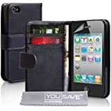 Premium Black PU Leather Wallet Case Cover For The Apple iPhone 4 / 4S With Screen Protector For The 4G 4th Generation