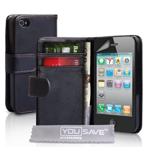 gadget geek - yousave accessories y1e8 6oxn etui cuir protection ecran pour iphone noir