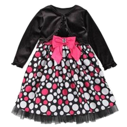 Youngland Infant & Toddler Girls Black & Pink Dots Party Dress Holiday Outfit