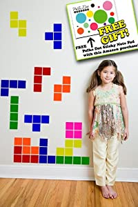 Color Set #1 - Set of 23 Falling Blocks Vinyl Wall Sticker Decals Tetris Wall Art Graphic Stickers Kit Retro + Plus Free Polka Dot Sticky Notepad